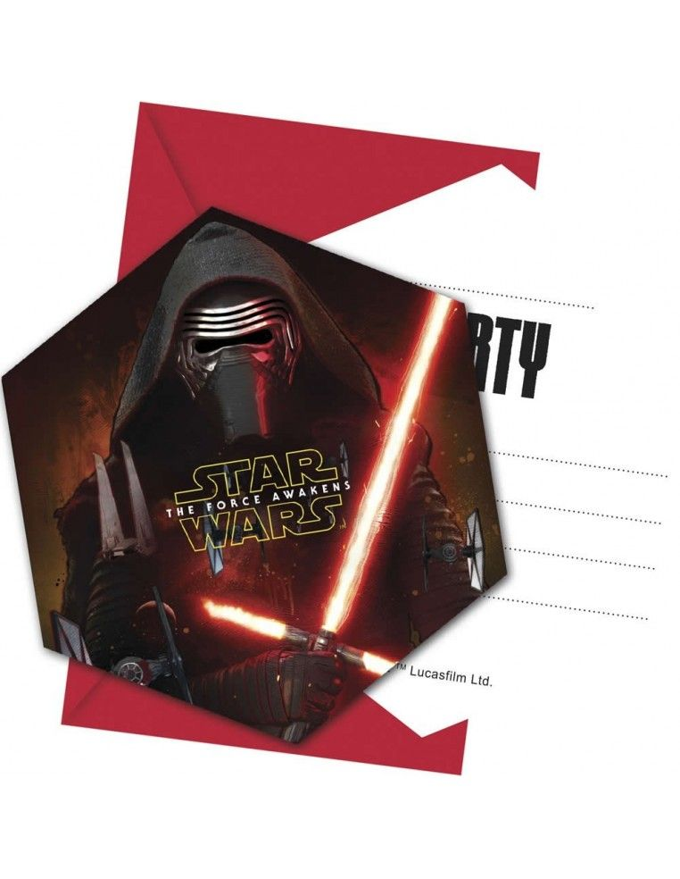 Invitaciones Star Wars The Force Awakens con Sobre