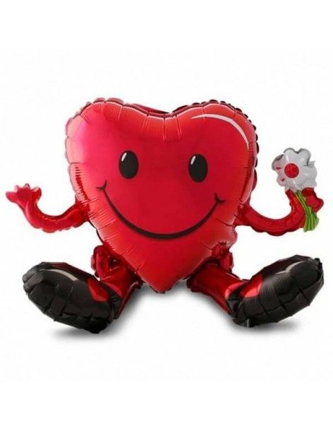 Globo Sitting Smiley Heart Forma 50cm