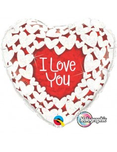 Globo I Love You Glitter Hearts - Corazon 45cm Foil Poliamida - Q34813