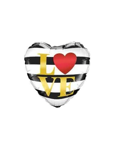 Globo Love Horizontal Stripes - Corazon 45cm Foil Poliamida - Q21748