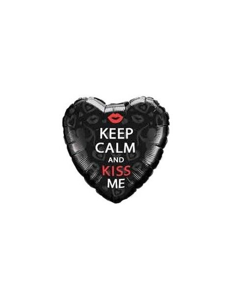 Globo Keep Calm And Kiss Me - Corazon 45cm Foil Poliamida - Q21831
