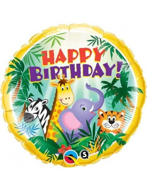 Globo Birthday Jungle Friends - Redondo 45cm Foil Poliamida - Q31014