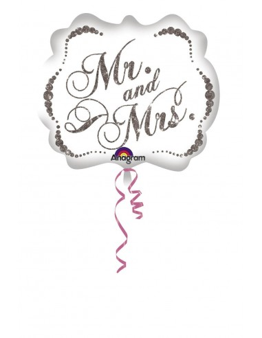 Globo Sparkling Mr and Mrs - Forma 55x63cm Foil Poliamida -A2880601