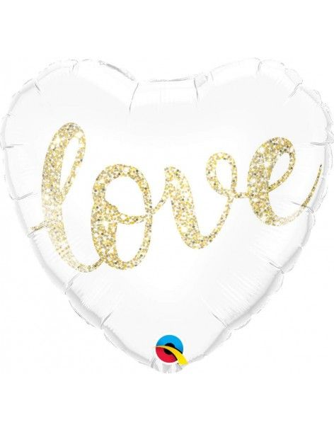 Globo Love Glitter Gold Corazon 45cm