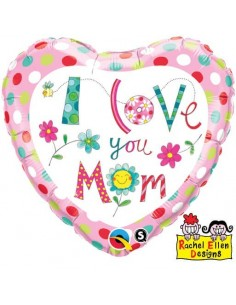 Globo I Love You Mom Flowers - Corazon 45cm Foil Poliamida - Q78282