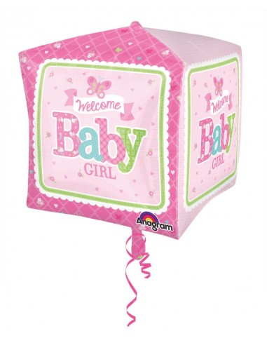 Globo Welcome Baby Girl Butterfly - Cubo 3D 43cm Foil Poliamida - A3069101