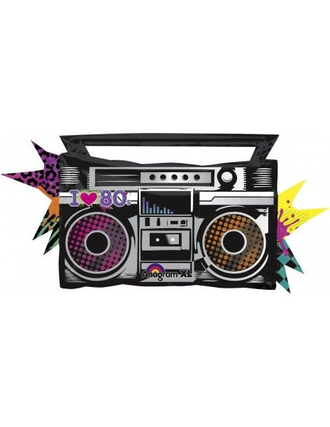 Globo Totally 80s Boombox - Forma 43x88cm Foil Poliamida -A2746401-02