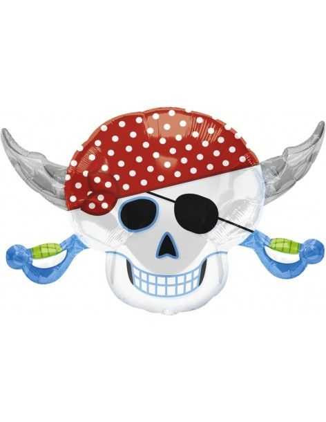 Globo Pirate Party Skull - Forma 46x71cm Foil Poliamida -A11822201