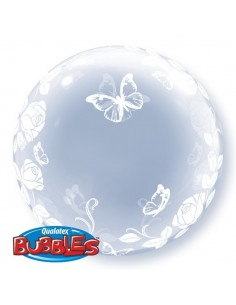 Globo Elegant Roses and Butterflies Deco Bubble Burbuja 60cm Q29718