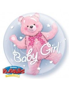 Globo Baby Pink Bear - Doble Bubble Burbuja 60cm - Q29488