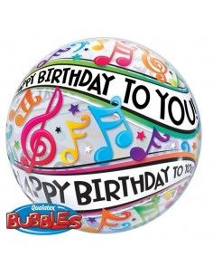 Globo Happy Birthday To You Music Notes - Bubble Burbuja 55cm - Q13795