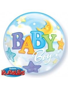 Globo Baby Boy Moon and Stars - Bubble Burbuja 55cm - Q23597
