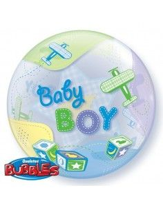 Globo Baby Boy Airplanes - Bubble Burbuja 55cm - Q69728