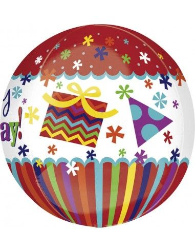 Globo HBD Stripes and Bursts Esferico 43cm ORBZ A2799001