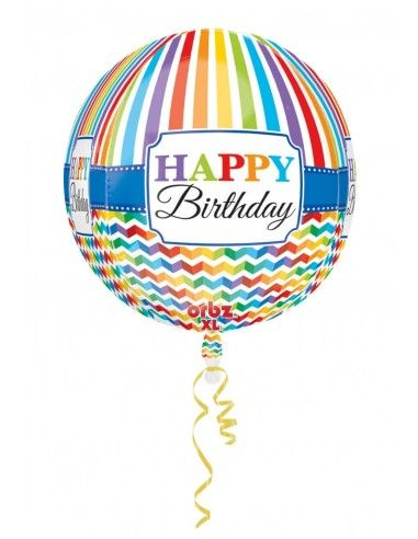 Globo HBD Bright Stripe and Chevron Esferico 43cm ORBZ A3067701