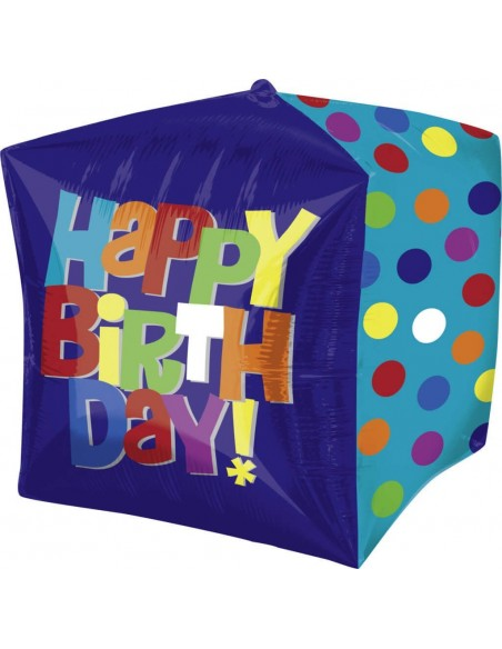 Globo Bright Happy Birthday Cube Cubo 3D 43cm Foil Poliamida A2822201