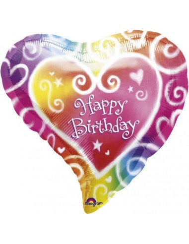 Globo Watercolour Birthday - Corazon 45cm Foil Poliamida - A0763501