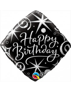 Globo Birthday Elegant Sparkles And Swirls Diamante 45cm Q29988