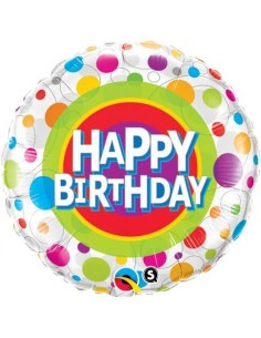 Globo Happy Birthday Colorful Dots Redondo 45cm Foil Poliamida Q41136