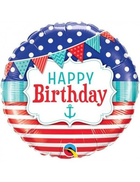 Globo Birthday Nautical Pennants Redondo 45cm