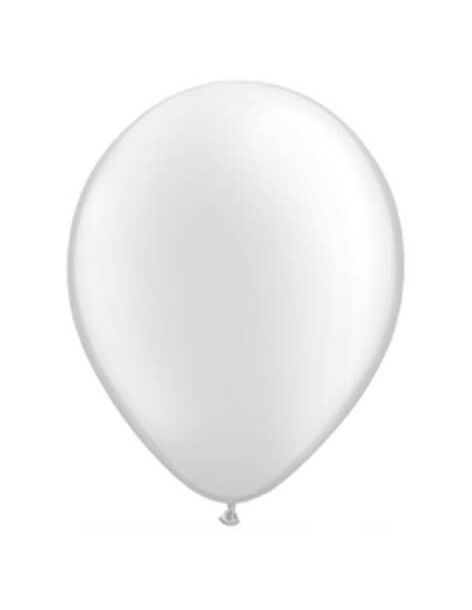 Globo Qualatex Redondo 28cm Metalizado Blanco