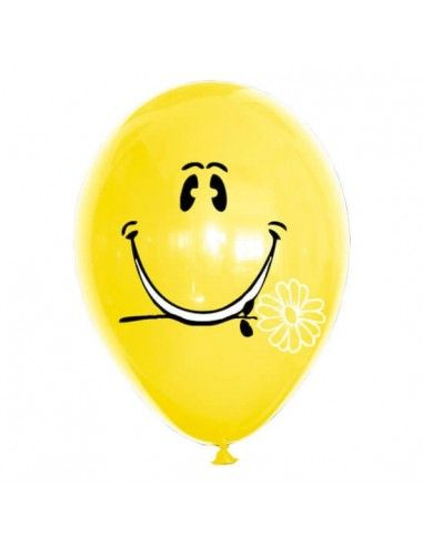Globos Smiley con Flor Latex Redondos 30cm Pastel Amarillo