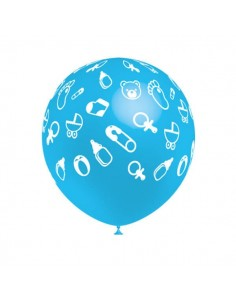 Globo Latex Redondo 32cm Baby Shower Celeste Metalizado