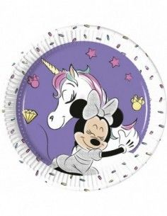 Platos Minnie Unicorn de 20cm 8 UDS